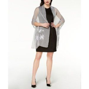 I.N.C. Embroidered Shine Evening Wrap, Silver, OS